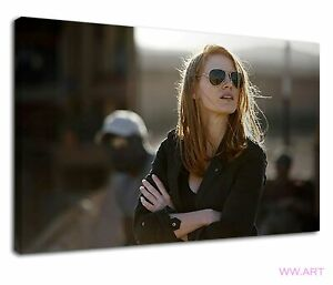 Jessica Chastain hot blonde in black sunglass Canvas Wall Art Picture Print
