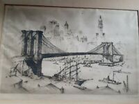 ANTON SCHUTZ , (German/American 1894-1977), etching BROOKLYN BRIDGE and SHIPPING