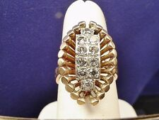 VINTAGE c1950 14K .70CT MINE DIAMOND COCKTAIL RING Sz 6.5