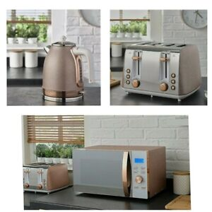 NEW - Sparkle Rose Gold 4 Slice Toaster, Kettle and Microwave (Multi) Set