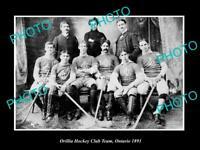 OLD 8x6 HISTORIC PHOTO OF ORILLIA ONTARIO THE HOCKEY CLUB TEAM c1891