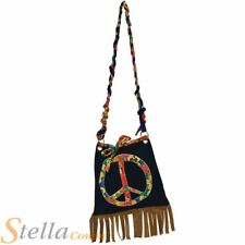 Hippy Handbag Hippie 60s 70s Peace Sign Bag Fancy Dress Costume Accessory