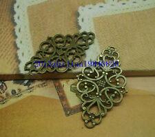 15/60pcs 42x25mm Antique Silver Filigree Flower Rhombus Connector Link