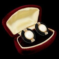Antique Vintage Art Deco Retro 14k Gold Mabe Pearl Diamond Onyx Disk Earrings
