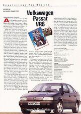 1991 Volkswagen Passat VR6 Original Car Review Print Article J38