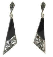 Impresionantes ónice Negro & Marcasita plata esterlina pendientes de estilo Art Deco