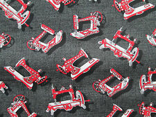 ANTIQUE SEWING MACHINES RED BLACK SEW ITEMS COTTON FABRIC FQ