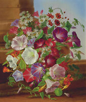 Oil painting Adelheid Dietrich - Still Life & Flowers Morning Glory Hand painted