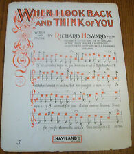 """1916 """"When I Look Back and Think of You"""" Rare Large Format Vintage Sheet Music"""