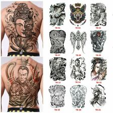 Waterproof Full Back Chest Tattoo Stickers Fish Wolf Tiger Dragon Temporary