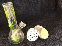 """Hookah Water Pipe Bong Glass 6"""" in Leaf Bubbler 2"""" in Metal Tobacco Grinder 4 PC"""