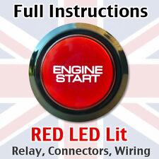 Nero/Rosso motore START AVVIAMENTO a pulsante interruttore di alimentazione-KIT COMPLETO CON GUAINA!