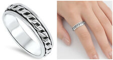 Sterling Silver 925 LADIES MENS CURB LINK CHAIN SPINNER DESIGN RING 7MM SIZE4-13