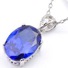 Xmas Woman Jewelry Set 3 Pcs 1 Lot Blue Topaz Gemstone Silver Necklace Pendants