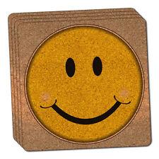 Happy Smile Face Thin Cork Coaster Set of 4