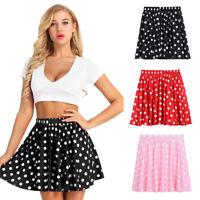 Classic Women's Ladies Stretch Mini Skirt Polka Dot Swing Flared Casual Skirt