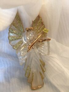 ANGEL WITH VIOLIN GLASS Christmas Ornament Kurt S. Adler NIB GOLD ACCENTS