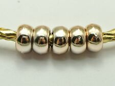 "100 Gold Metallic Acrylic Smooth Ring Spacer Pony Beads 10X5mm(3/8"") Big Hole"