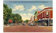 Lakeland FL -KENTUCKY AVENUE NORTH- Linen Postcard Florida