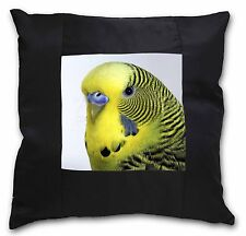 Yellow Budgerigar, Budgie Black Border Satin Feel Cushion Cover With , AB-51-CSB