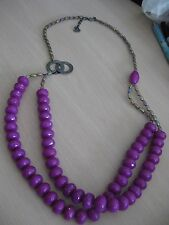 """Large Bead Two Row Necklace 39"""" Estate Costume Joan Rivers Purple Orchid Color"""