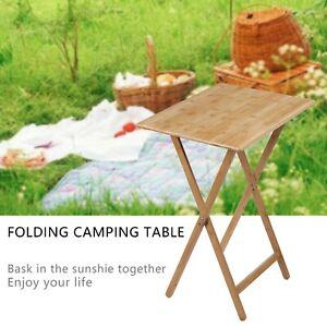 Folding Bamboo Bedside Table Foldable TV Tray Work Serving Reading Desk SnackAU