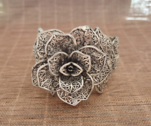 China's Old Tibet Silver Rose flower style Pattern opening bangle Bracelet