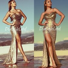 Gold Sequin Formal Gown Strapless Mermaid Prom Ball Cocktail Party Evening Dress