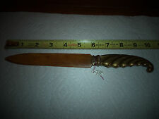 Vintage Antique Estate Ornate Letter OPENER Handle BRASS AND HORN
