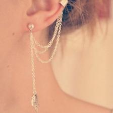 1Pc Women Punk Rock Leaf Chain Tassel Hanging Ear Stud Cuff Earring
