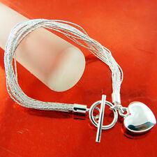 Strand Link Heart Charm T'Bar Design Bracelet Bangle Real 925 Sterling Silver Sf