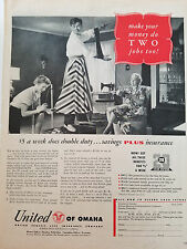 1954 United of Omaha Benefit Life Insurance Seamstress Sewing Machine Hemming Ad