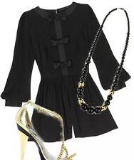 Topshop Premium Black Satin Bow Vtg Tuxedo Playsuit Romper Dress 8 6 36 US4 XS/S