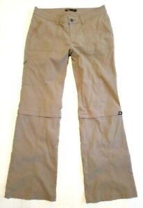 Women's prAna Khaki Convertible Zip Off Stretch Pants Size 8 Shorts Hiking Nylon