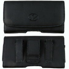 Black Leather Case Holster fits w/ silicone case on For Blackberry Cell Phones