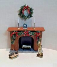 Dollhouse Miniature Fireplace Christmas Decorated tools & all accessories shown
