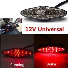 12V Motorcycle Tail Light LED Smoke Running Rear Brake Stop License Plate Light