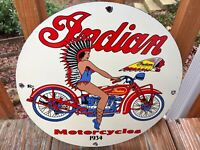 Vintage Indian Motorcycles Heavy Porcelain Sign 12""