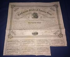 CONFEDERATE STATES OF AMERICA LOAN $500 bond loan 1863 share certificate