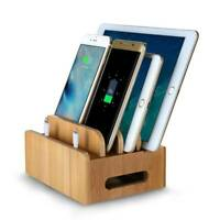 Bamboo Multi-device Organizer Stand Charging Station USB Dock for Phone&Tablet