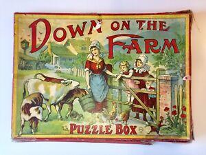 Antique RARE 1890's Milton Bradley FARM Puzzle Box 3 Lithograph Puzzles COMPLETE