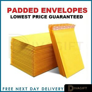 PADDED BUBBLE ENVELOPES BAGS POSTAL WRAP - ALL SIZES - VARIOUS QUANTITIES GOLD