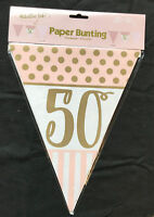 50th Birthday Pennant Flag Banner Pink & Gold Party Decorations Age 50 Bunting