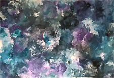 HUGE 1780 x1220 Ink Petrol Blue Purple Teal  Modern Abstract Canvas Painting Art