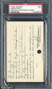 1933 Goudey #60 Waite Hoyt Original Copyright Patent Proof Registration Card PSA