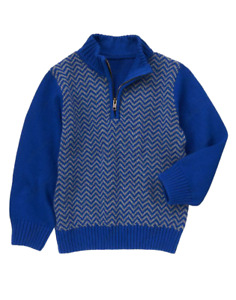 NWT Boys Gymboree Royal Blue Gray Chevron Stripe Half Zip Sweater, Sz. L (10-12)