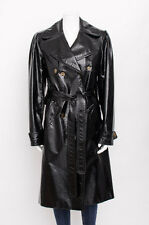 DOLCE & GABBANA D&G Black Patent Leather Glossy Crinkle Trench Coat Jacket 44/8