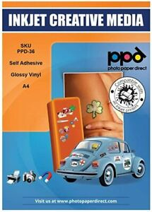 PPD A4 Gloss Printable Vinyl Self Adhesive Sticker Paper x 20 Sheets