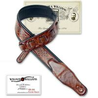 Walker & Williams GB-181 Bourbon Brown Celtic Chain Padded Guitar Strap
