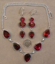 GARNET and sterling silver necklace and earrings SET SJ103-05